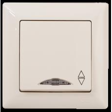 Выключатель 1-кл проходной с индикацией кремовый